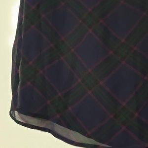 LOFT Tops - LOFT Plaid  Sheer Short Sleeve Top, sz XS
